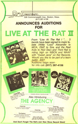 Ad for Live at the Rat II. Recorded and lost now.
